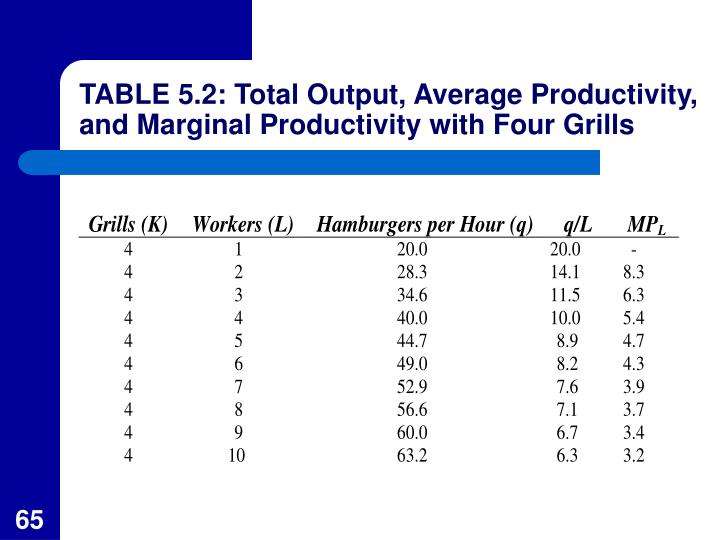 TABLE 5.2: Total Output, Average Productivity, and Marginal Productivity with Four Grills