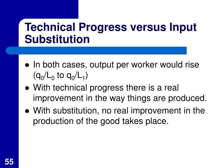 Technical Progress versus Input Substitution