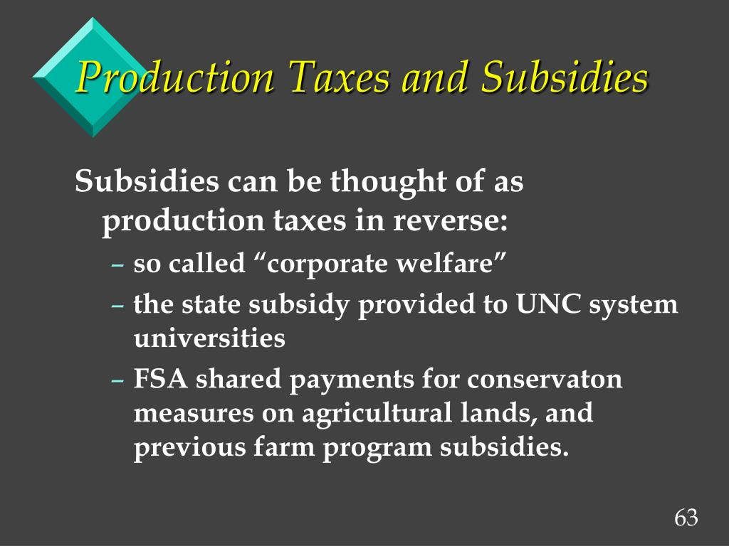 Production Taxes and Subsidies