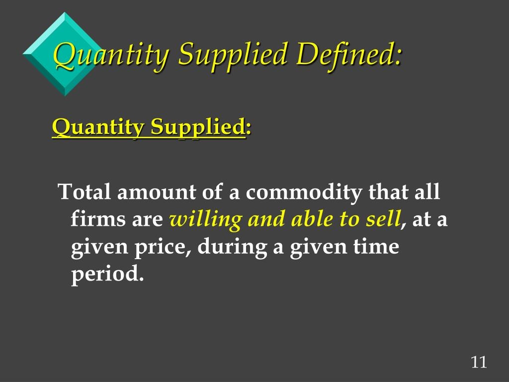 Quantity Supplied Defined: