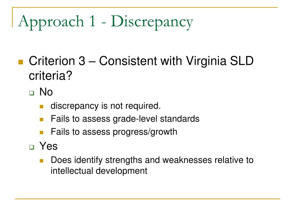 Approach 1 - Discrepancy