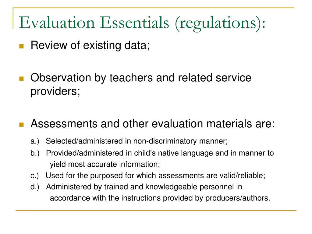 Evaluation Essentials (regulations):