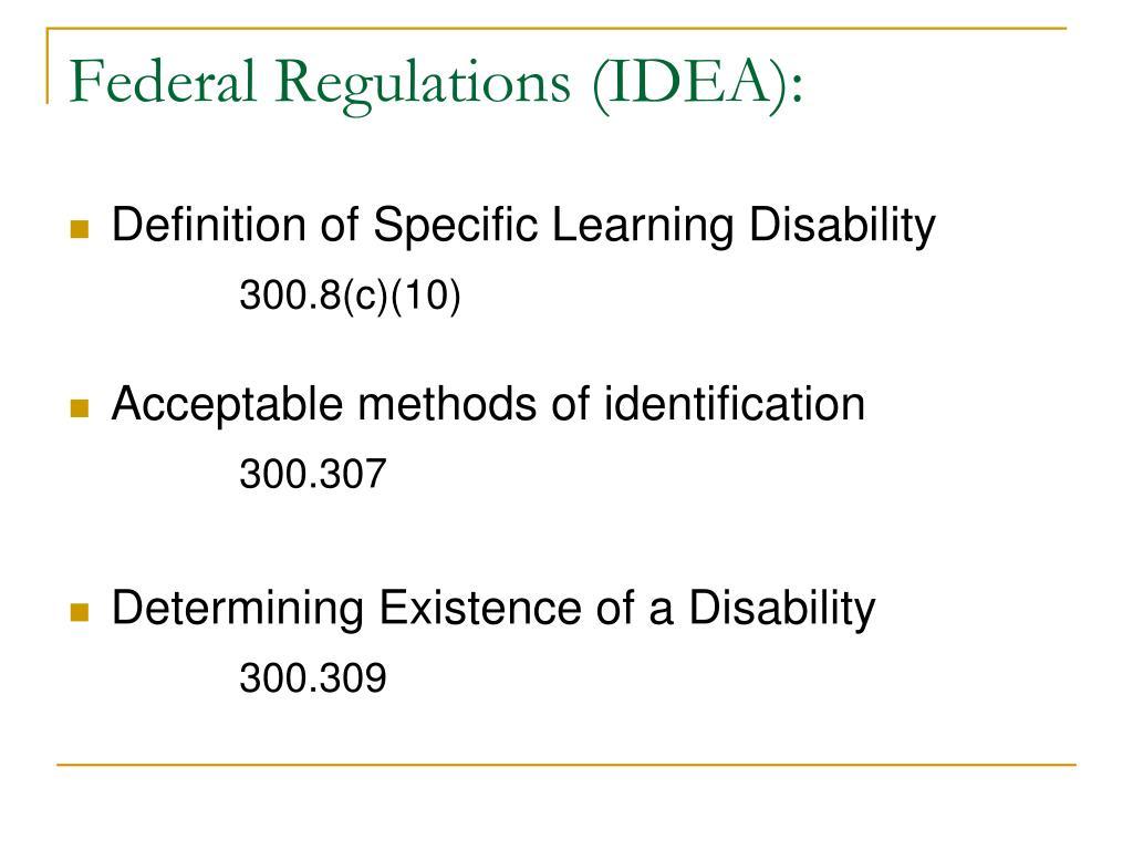 Federal Regulations (IDEA):