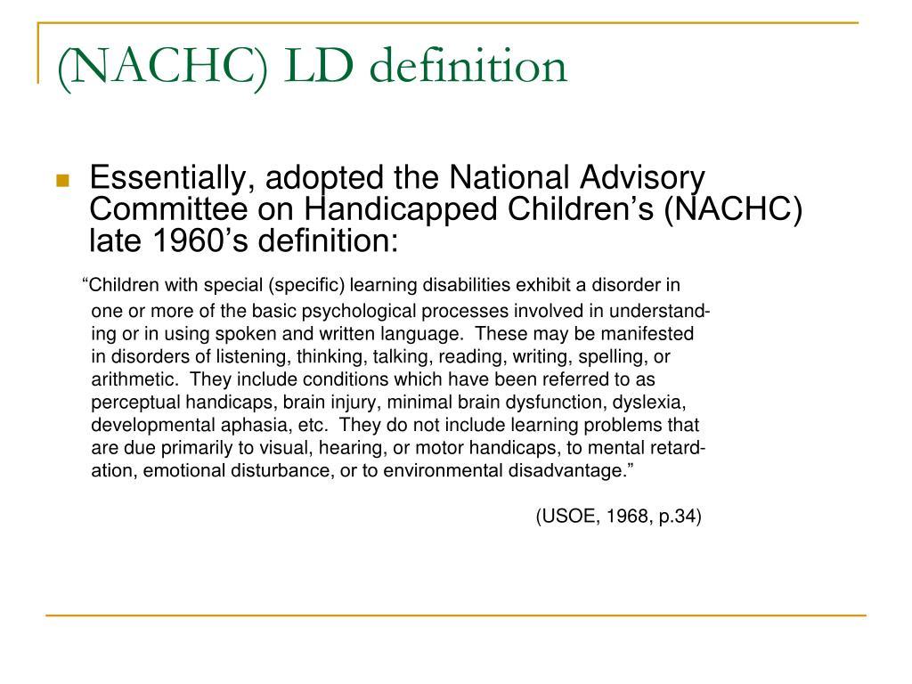 (NACHC) LD definition