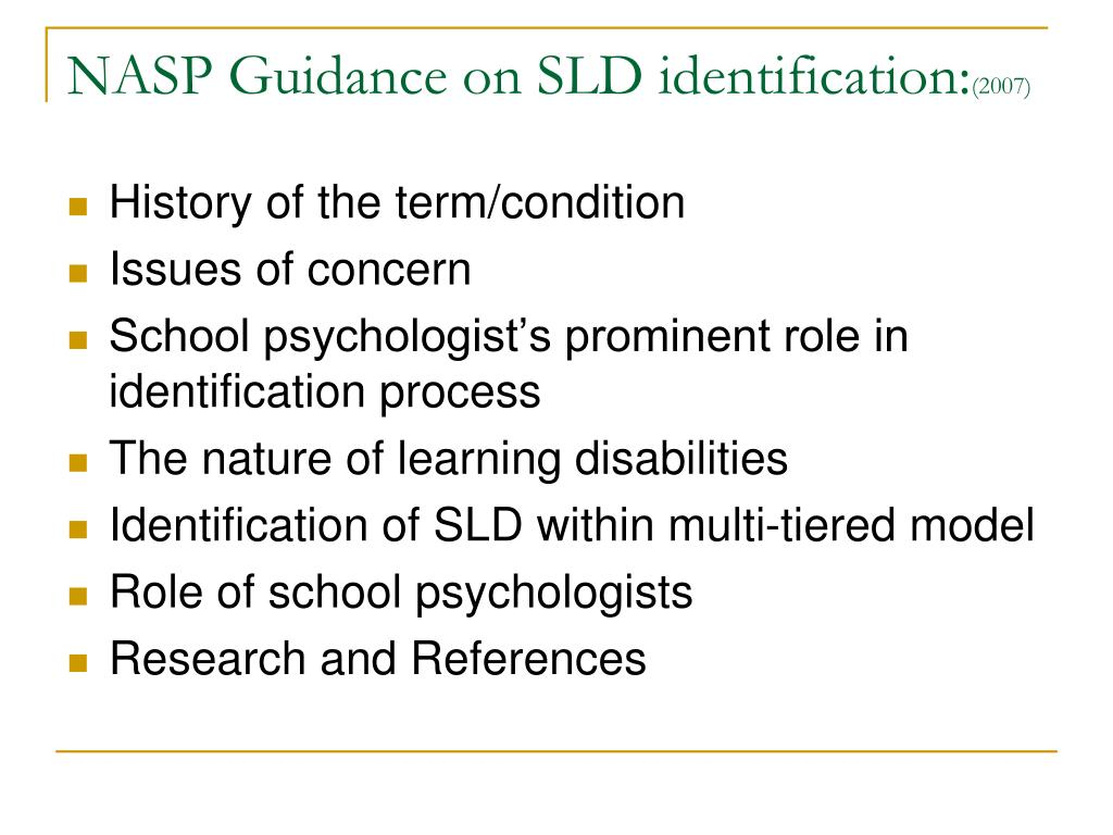 NASP Guidance on SLD identification: