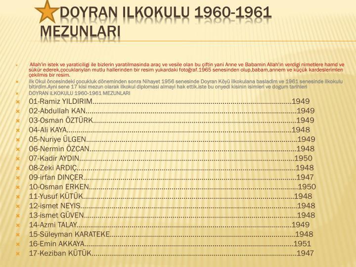 Doyran ilkokulu 1960 1961 mezunlari