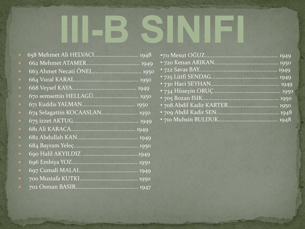 III-B SINIFI