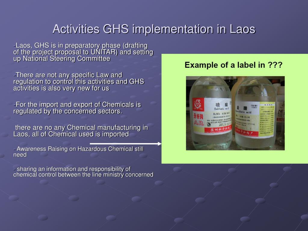 Activities GHS implementation in Laos