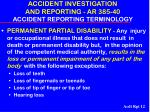 accident investigation and reporting ar 385 40 accident reporting terminology12