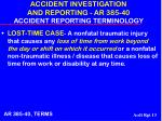 accident investigation and reporting ar 385 40 accident reporting terminology13
