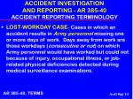 accident investigation and reporting ar 385 40 accident reporting terminology14