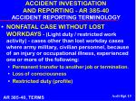 accident investigation and reporting ar 385 40 accident reporting terminology15