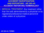 accident investigation and reporting ar 385 40 accident reporting terminology18