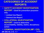 categories of accident reports