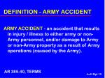 definition army accident