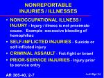 nonreportable injuries illnesses
