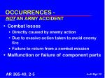 occurrences not an army accident