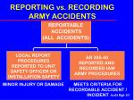 reporting vs recording army accidents
