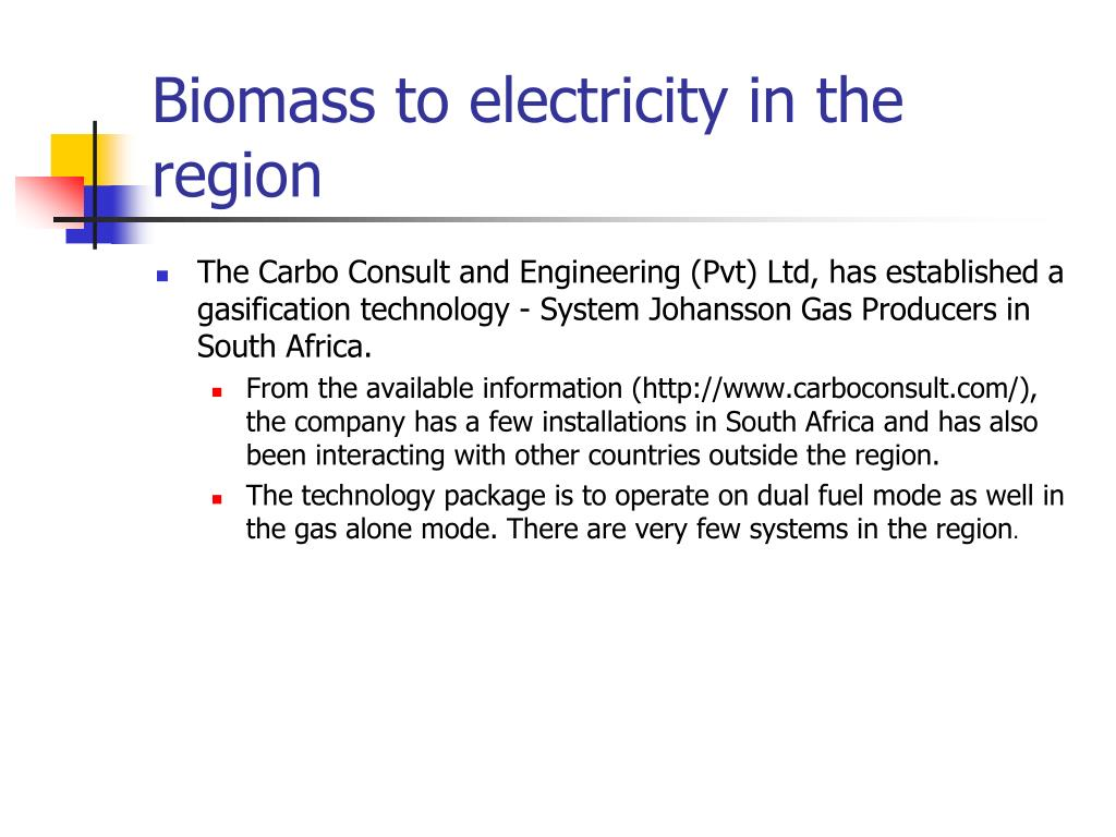 Biomass to electricity in the region
