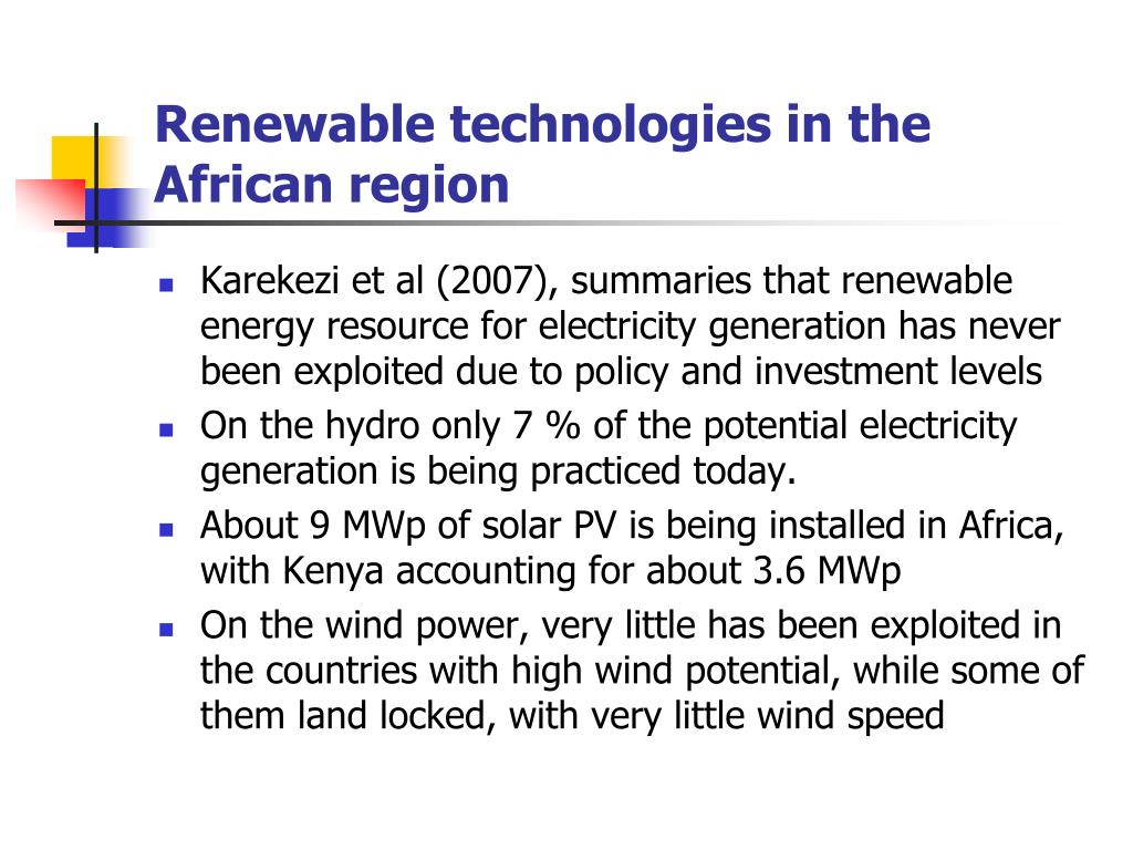 Renewable technologies in the African region