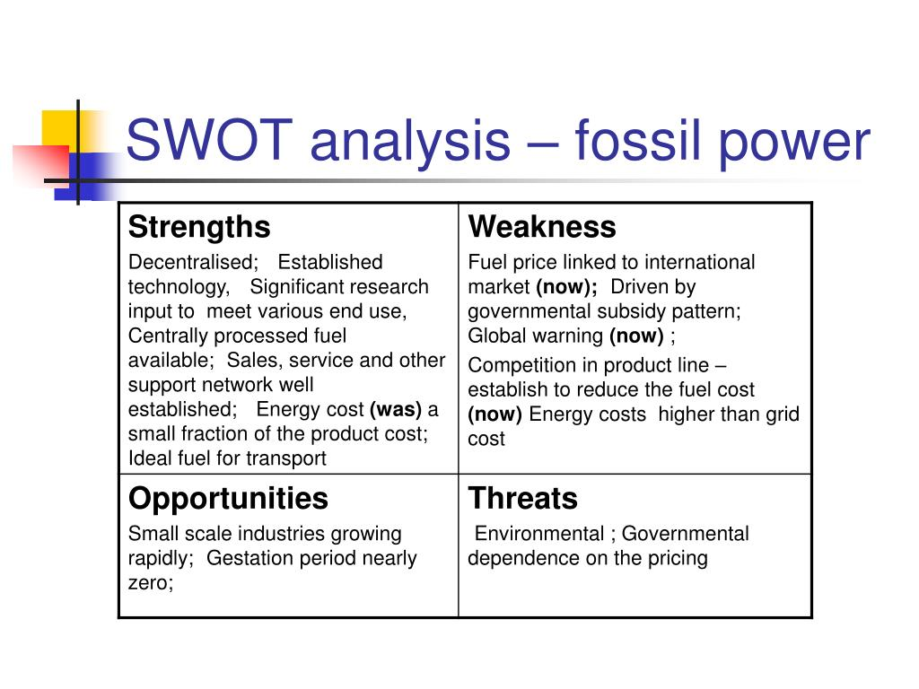 SWOT analysis – fossil power