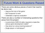 future work questions raised