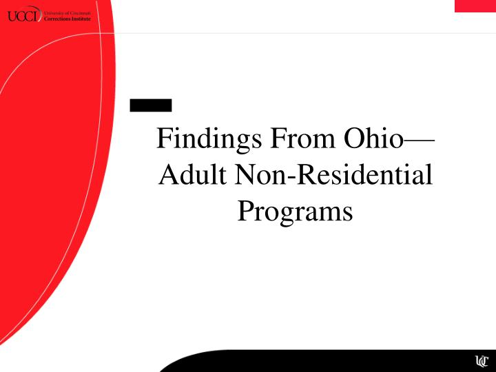Findings From Ohio—Adult Non-Residential Programs
