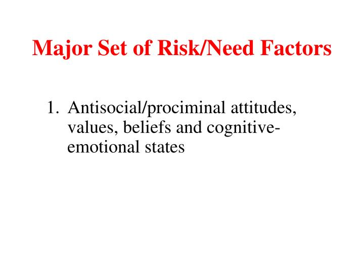 Major Set of Risk/Need Factors