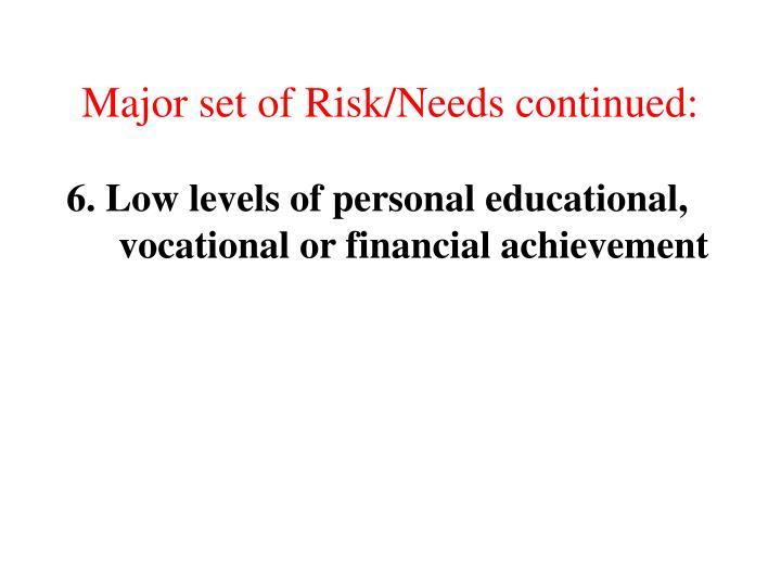 Major set of Risk/Needs continued: