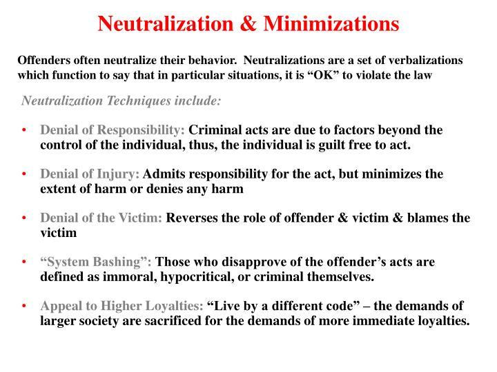 Neutralization & Minimizations