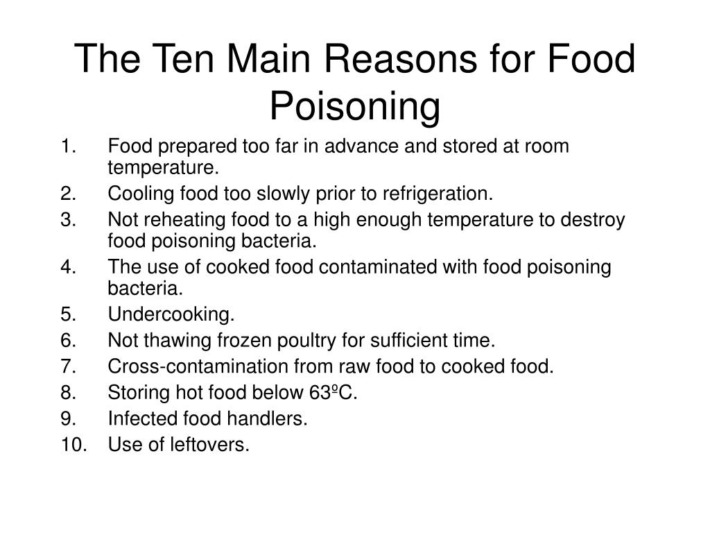 The Ten Main Reasons for Food Poisoning