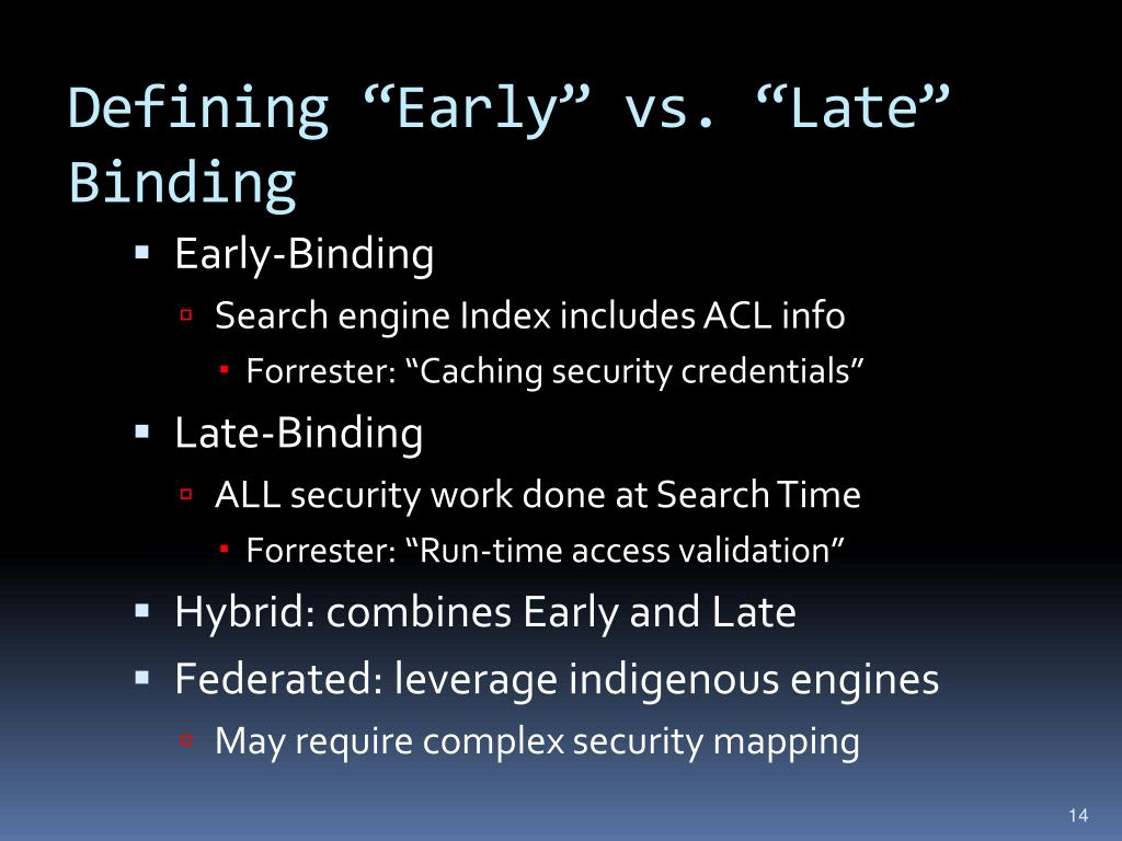 "Defining ""Early"" vs. ""Late"" Binding"