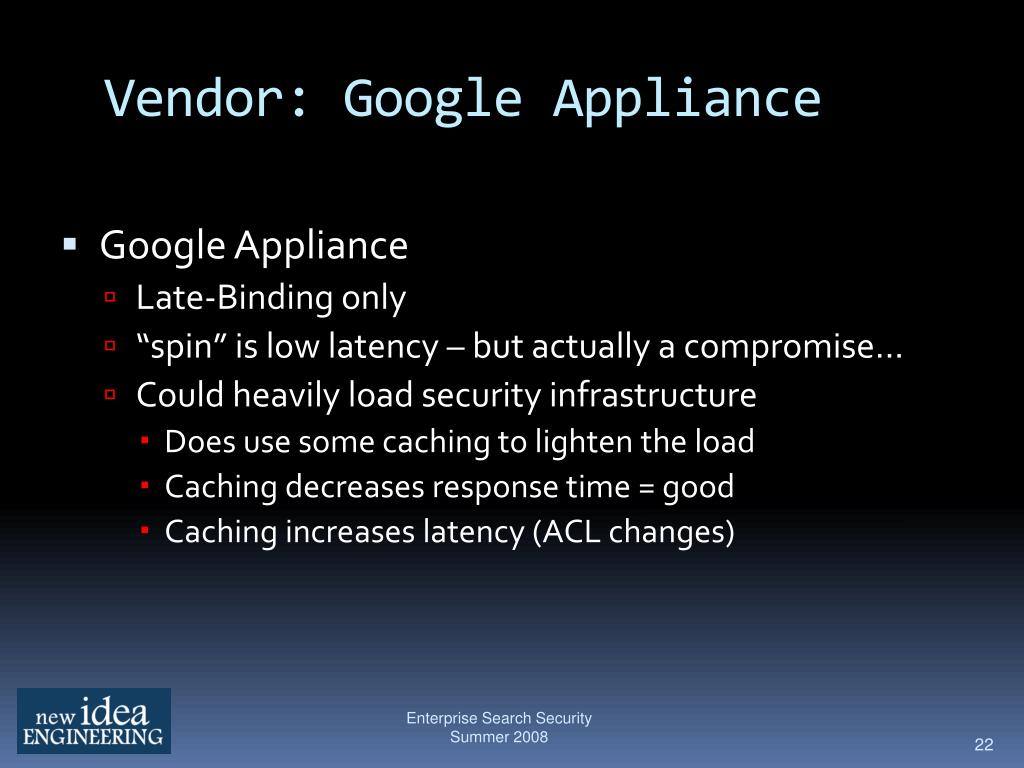 Vendor: Google Appliance