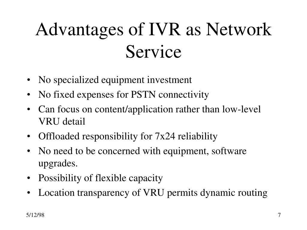 Advantages of IVR as Network Service