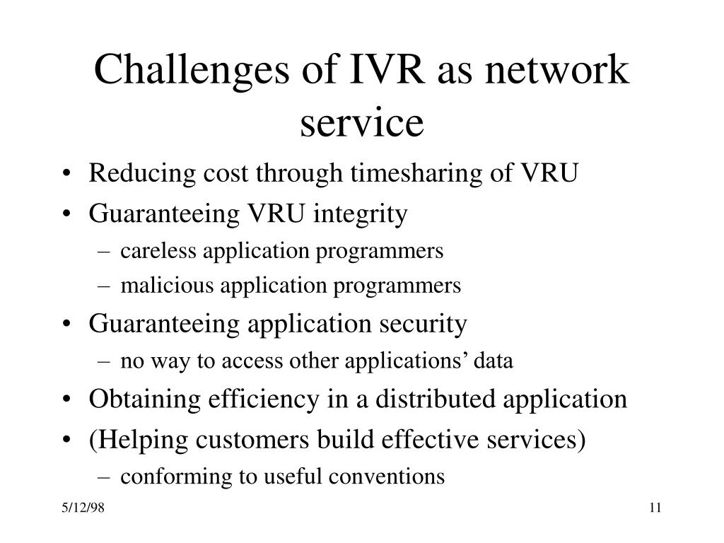 Challenges of IVR as network service