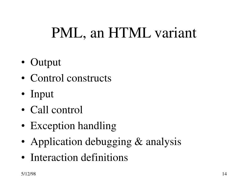 PML, an HTML variant