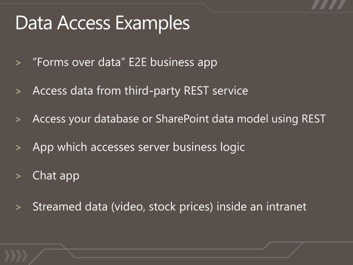 Data access examples