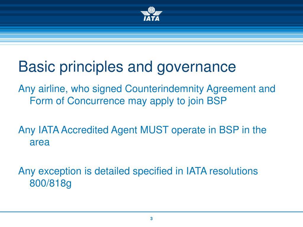 Basic principles and governance