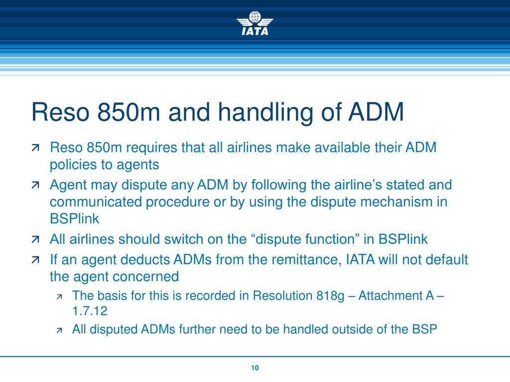 Reso 850m and handling of ADM