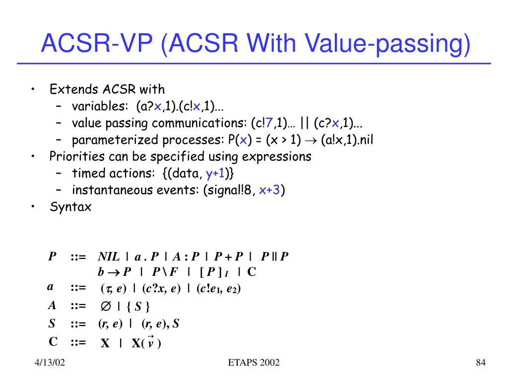 ACSR-VP (ACSR With Value-passing)