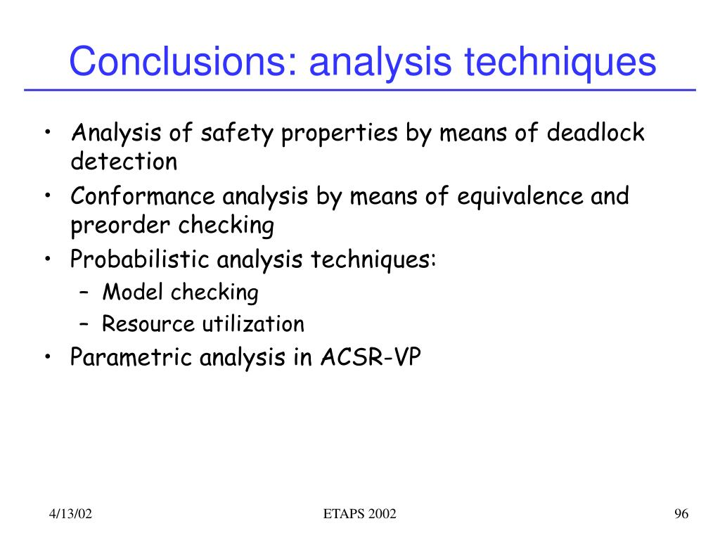 Conclusions: analysis techniques
