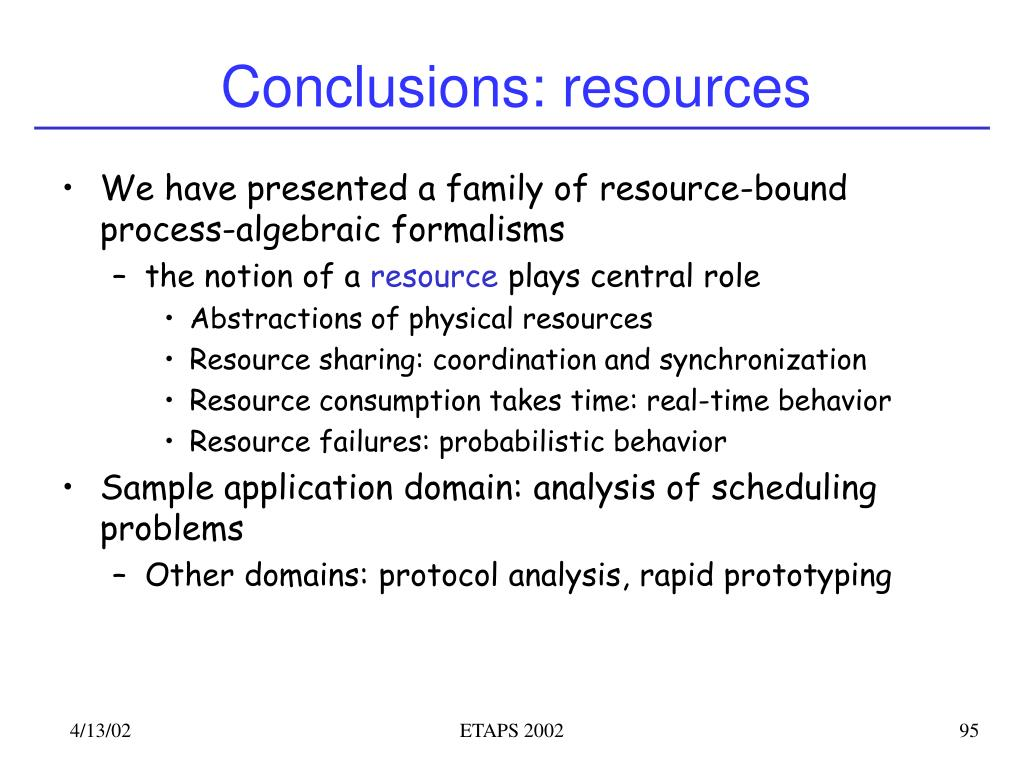 Conclusions: resources