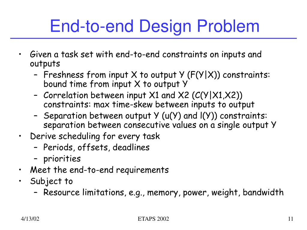 End-to-end Design Problem