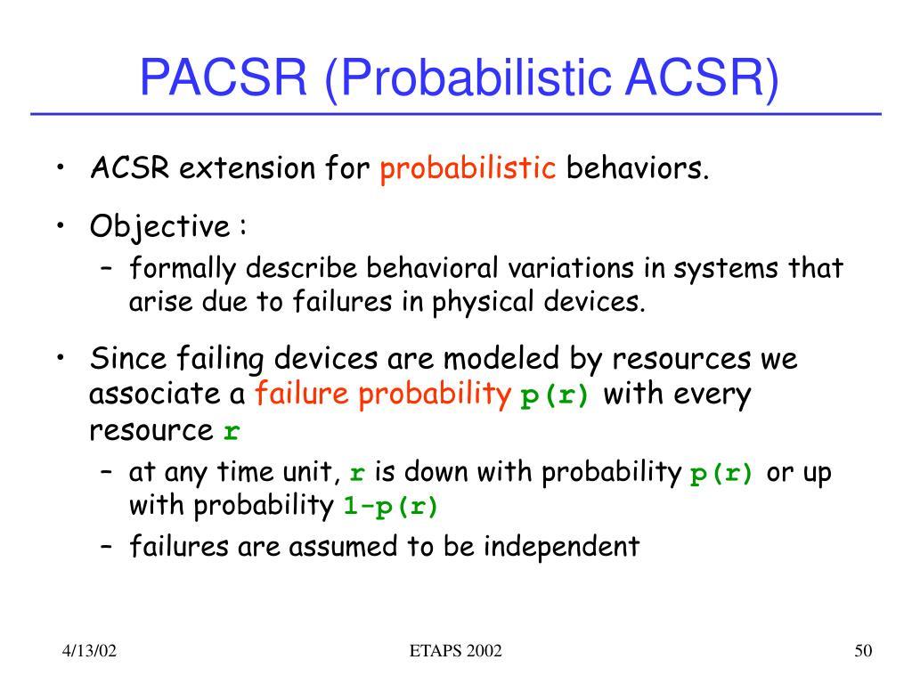 PACSR (Probabilistic ACSR)