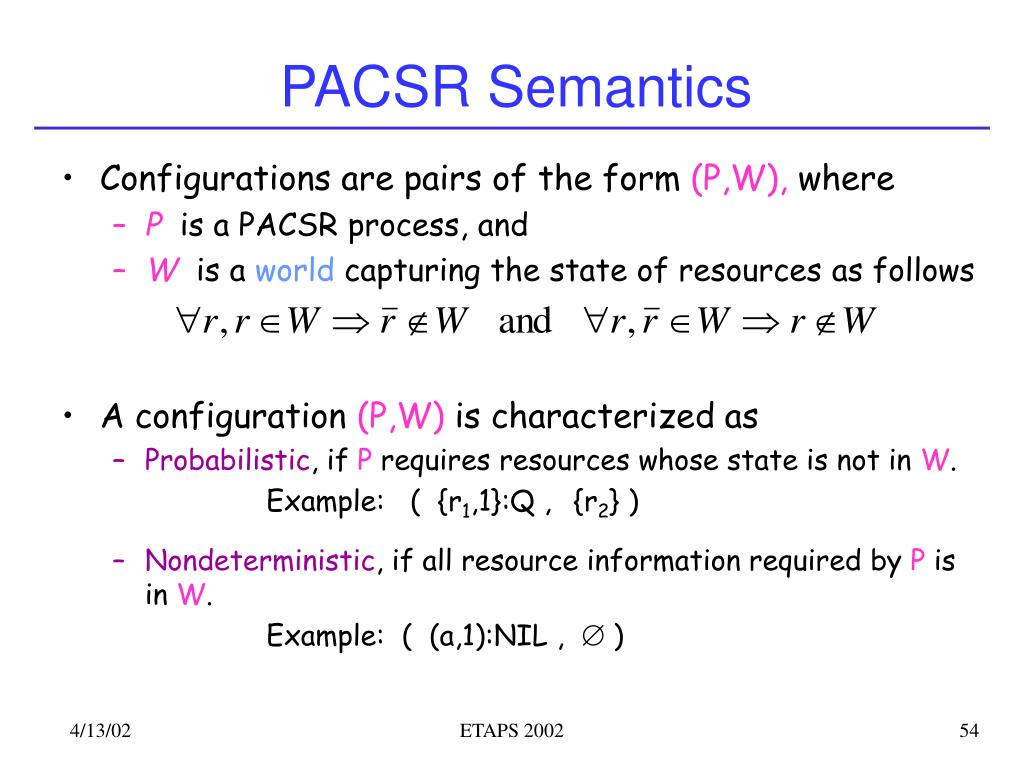 PACSR Semantics