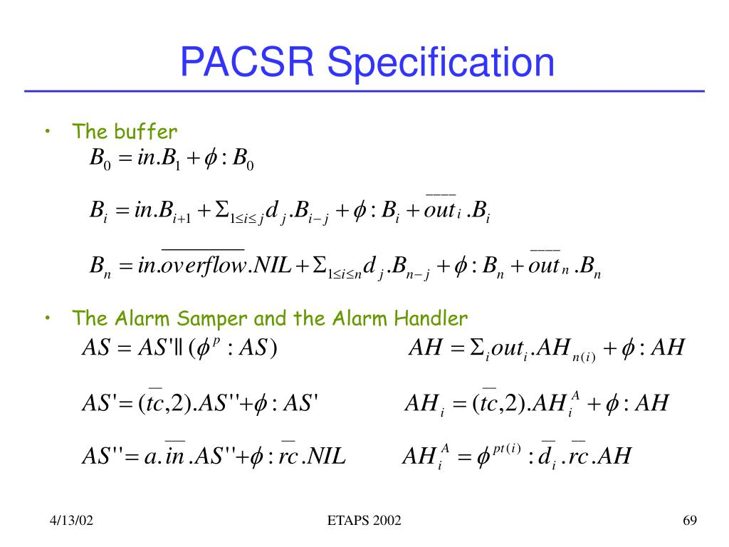 PACSR Specification