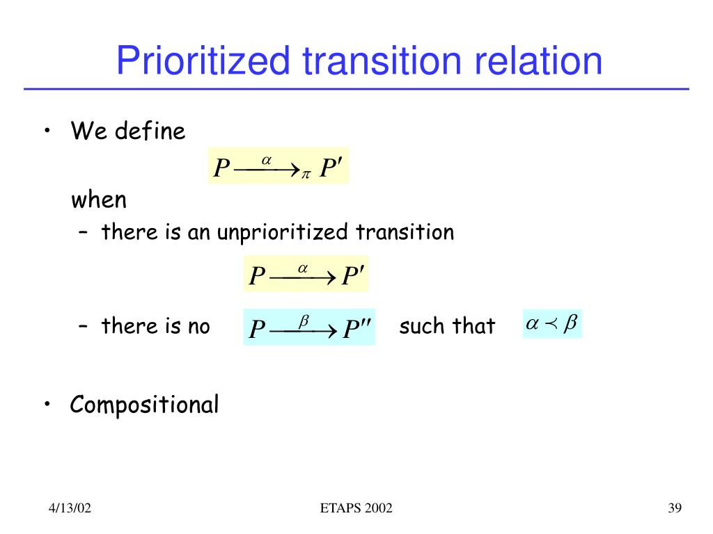 Prioritized transition relation