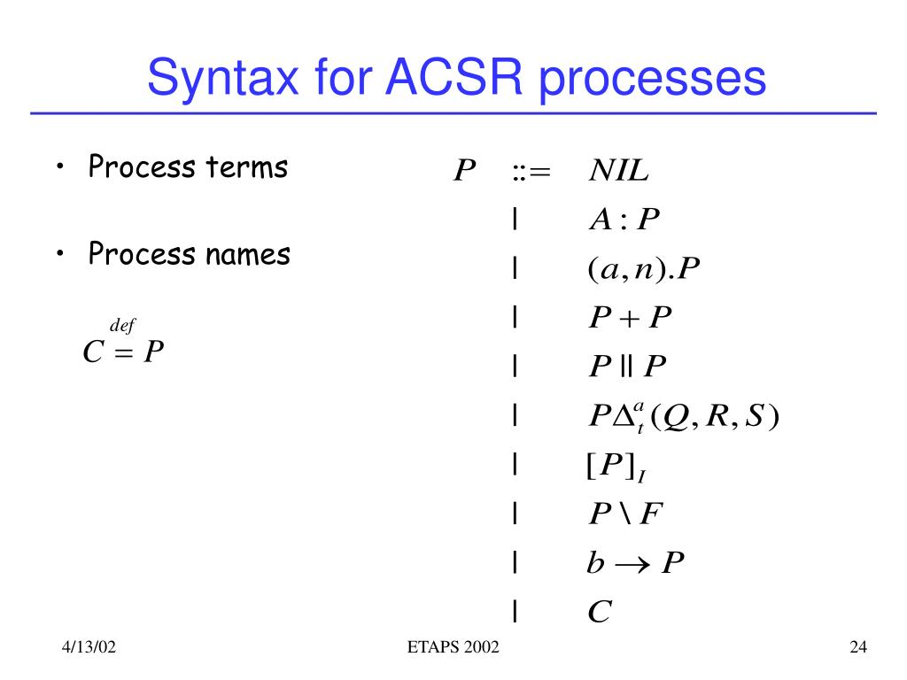 Syntax for ACSR processes