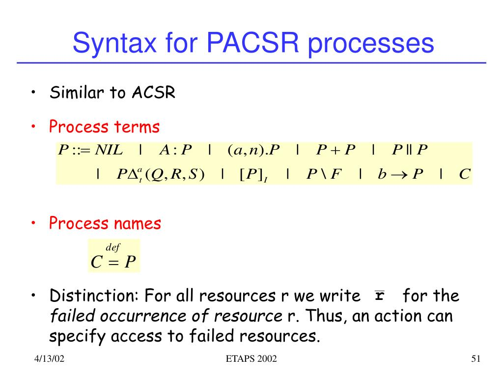 Syntax for PACSR processes