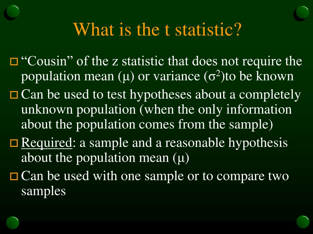 What is the t statistic?